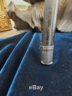 Antique Carved Walking Stick Cigarette Lighter Inside top Silver Tip Elegant