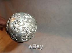 Antique Carved Wood Silver Plate Topper Walking Stick, Cane