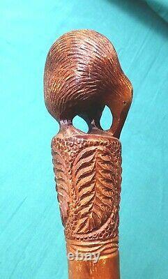 Antique Carved Wood Walking Stick New Zealand Kiwi & Tree Fern Design