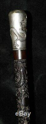 Antique Chinese Silver Dragon Top Carved Hardwood Cane Walking Stick Kwan Wo