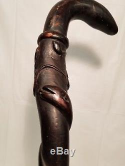 Antique Civil War Era Folk Art Cane Walking Stick Hand Carved Woman and Snakes