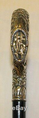 Antique Deep Carved Sterling & Inlaid Gold Handle Ebony Cane Walking Stick NG