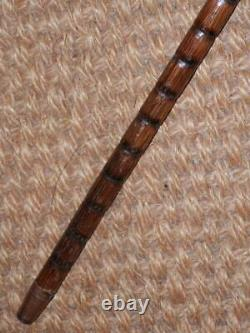 Antique Dress Cane/Walking Stick Hand-Carved Chinese Dragon- H/M Silver 1910
