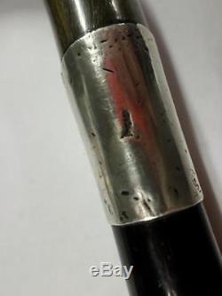 Antique Ebonsised Walking Cane- Carved Bovine Horn Handle -hallmarked Silver
