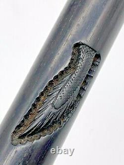 Antique English Walking Stick Carved Lucky Dragon on Ebony Wood withsilver Handle