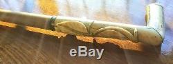 Antique Faux Ivory Carved LEAFS Walking Stick, 38 L. Heavy & Sturdy