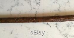 Antique Fine Relief Carved Figural Cane Walking Stick Eagle Snake Mexican Mexico