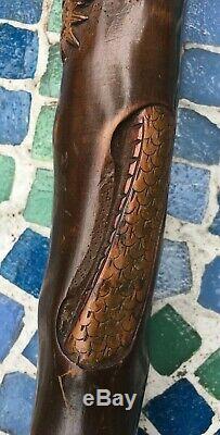 Antique Folk Art Cane Walking Stick Carved Dragon Tiger Chinese Japanese Asian