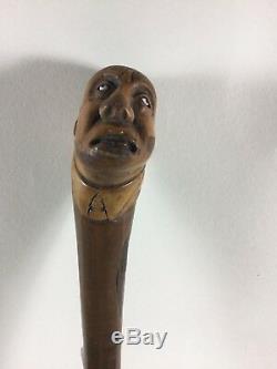 Antique Folk Art Cane Walking Stick Hand Carved mans head