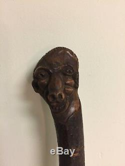 Antique Folk Art Carved Wood Walking Stick Cane Grotesque Face