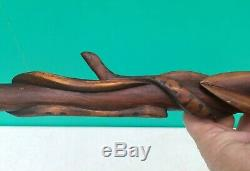 Antique Folk Art Hand Carved Serpent Snake Diamond Willow Wood Walking Stick