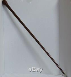 Antique Folk Art Hand Carved Wood Classy Man Face Head Tie Cane Walking Stick