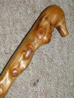 Antique Folk Art Rustic Chestnut Walking Cane/Stick-Hand-Carved Caricature Face