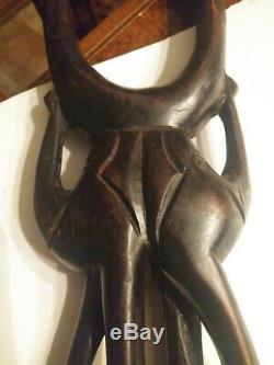 Antique Folk Art Wood Carved Walking Stick / Cane with Elephant, Animals, Native
