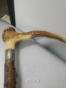Antique German Stag Antler Handle Carved Hickory Cane Walking Stick with28 badges