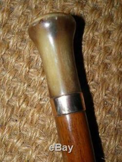 Antique Gold Plate Carved Bovine Horn Oak Walking Stick/Cane 86cm