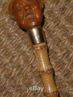 Antique Gold Wangy Bamboo Dress Cane With Chinese Carved Coquilla Nut Top. Howell