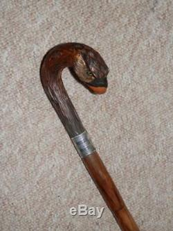 Antique Guinness Advertising Walking Stick Hand-Carved Parrot & Silver H/m 1920