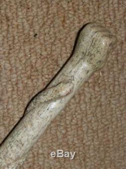 Antique H/M 1912 Bone Hand-Carved Fist Entangled Snake. Snake Wood Walking Cane