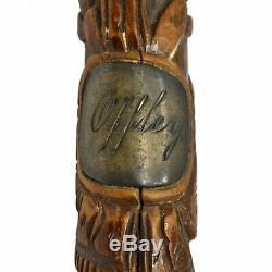 Antique HAND CARVED WOOD CANE Silver Name-Tag FOLK ART WALKING STICK Eagle & Men