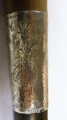 Antique Hallmarked 1890's Silver Carved Crook Ebony Walking Stick 90cm