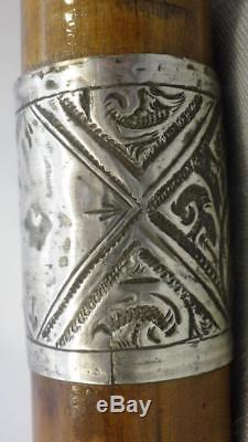 Antique Hallmarked 1892 Dress/Walking Cane- Carved Twisted Top WithFace- 91cm