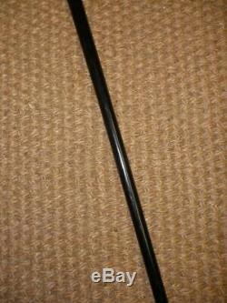 Antique Hallmarked 1900 Silver Carved Top Ebonised Walking/Dress Cane'L. B