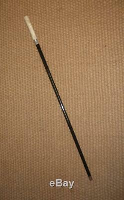 Antique Hallmarked 1917 Silver Ebonised Walking Cane With Hand Carved Detailed Top