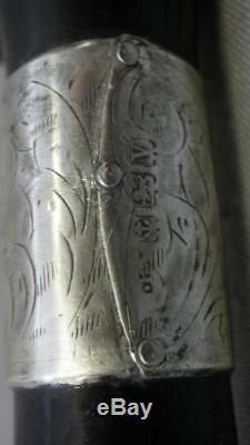 Antique Hallmarked Carved Crook Dog Figure/Head Ebonised Dress/Walking Cane 87cm