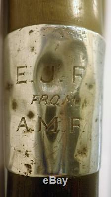 Antique Hallmarked Silver Carved Crook Topped Walking Cane 89cm'E. J. F A. M. F
