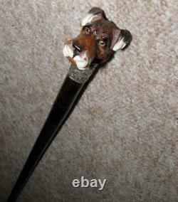 Antique Hand Carved Airedale Dog Glove Holder Walking Stick With H. M Silver-1918