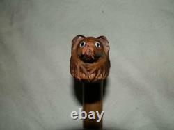 Antique Hand-Carved Dog Handle Walking Cane With Glass Eyes and Red/White Collar