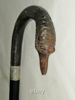 Antique Hand Carved Ducks Head Walking Stick-Hallmarked Silver Collar'1935' 88c