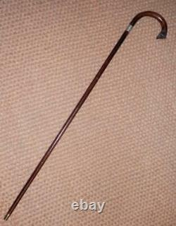 Antique Hand-Carved Fox Head Crook Handle Walking Stick/Cane H/M Silver 1931