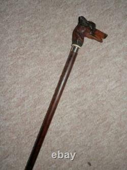 Antique Hand-Carved German Shepherd Walking Stick/Cane-Glass Eyes HM Silver 1927