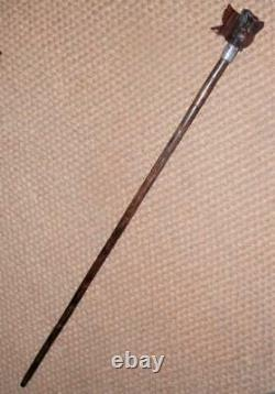 Antique Hand-Carved Japanese Owl Walking Stick/Cane Plaited Silver Collar