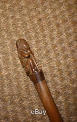 Antique Hand Carved Man Top, Bamboo Dress Cane/ Walking Stick