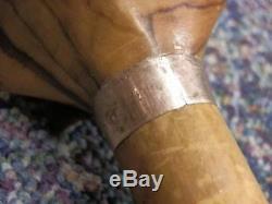 Antique Hand-Carved Middle Easern Man Walking Stick 9 Carat Gold Collar 1901