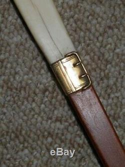 Antique Hand Carved'PARIS. 89' 15 Ct Gold Collar 1878'W. B' Walking Stick 91cm