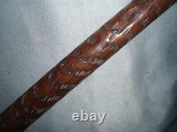 Antique Hand Carved Spaniel Top Hallmarked Silver 1894 Walking Stick/Cane. 34