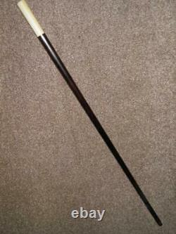 Antique Hand Carved Topped Ebony Walking Stick 88cm