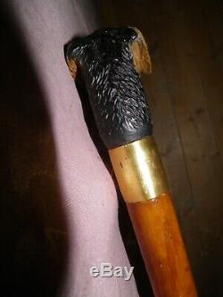 Antique Hand Carved Treen Airedale Terrier Walking STICK/CANE BEN COX LONDON