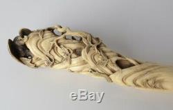 Antique Hand Carved Walking Stick Parasol Keris handle Bovine Bone