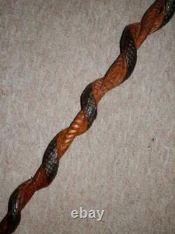 Antique Hand-Carved Walnut Cobra Snake Wrap Walking Stick/Cane