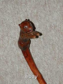 Antique Holly Walking Stick/Cane With Hand-Carved Glass Eyed Cheetah Handle -109cm