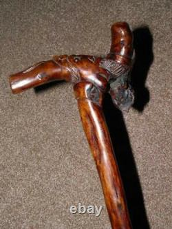 Antique Holly Walking Stick With 2 Hand Carved Grotesque Faces WithGlass Eyes