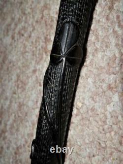 Antique Horn H/M Silver Irish Bog Oak Hand-Carved Clover Harp Walking Stick/Cane