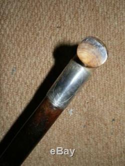 Antique Horn H/m Silver 1898 Irish Bog Oak Hand Carved Clover Walking Stick 34