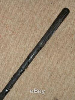 Antique Irish Bog Oak Hand Carved Snake & 3 Leaf Clover Walking Stick 35.1/2