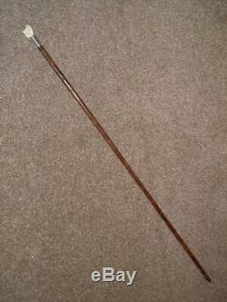 Antique Kendall Hallmarked 1925 Silver Walking/Dress Cane WithCarved Fist Handle